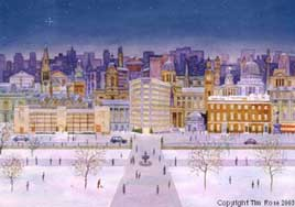 christmas cards of London  City Buildings